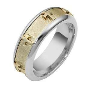14 Karat Two Tone Gold Unique SPINNING Religious Cross Ring