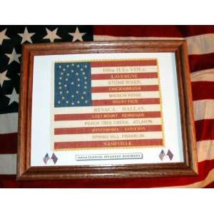 Framed, 35 Star Civil War American Flag100th Illinois