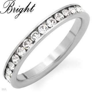 Womens Stainless Steel Eternity Stackable Rhinestone Clear CZ Band