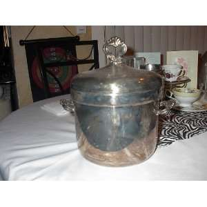 Silverplate F.b. Rogers Ice Bucket with White Glass Insert Chipped