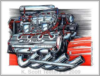 Chrysler 392 Hemi Drag Racing Engine Color Print