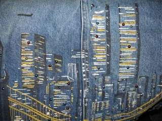 PRE 911~NEW YORK CITY SKYLINE TWIN TOWERS DENIM SKIRT