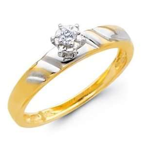 14K Yellow and White 2 Two Tone Gold Womens Round cut Diamond Wedding
