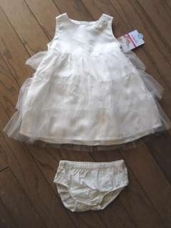 Baby Girls White Dress Carters Ruffles Roses Infant Size 18 months