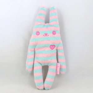 Amuse Japan FLAN Softy Mascot Plush Stuffed Toy Pink Blue Stripe 6