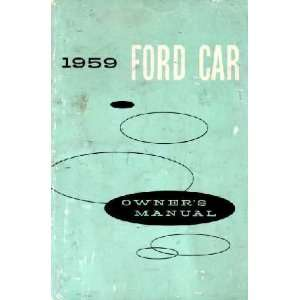 1959 FORD PASSENGER CAR Owners Manual User Guide Automotive