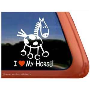 I Love My Horse Pinto Stick Horse Trailer Vinyl Window