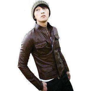 Men Slim Fit Sexy Style PU Leather Jacket Coat 2 Colors