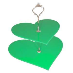 2 Tier Green Acrylic Heart Cake Stand 19cm 23cm Overall