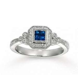 14k White Gold Milgrain Princess Blue Sapphire Diamond
