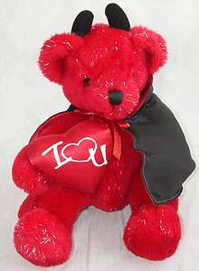Atico Plush Red Devil Teddy Bear I Love(Heart)U You Valentine Cape