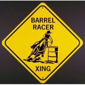 BARREL RACER XING Aluminum Sign