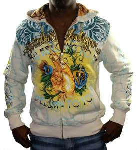 CHRISTIAN AUDIGIER Ed Hardy Platinum Fingers Hooded Mens Hoodie