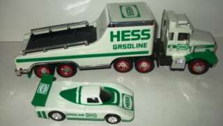 1991 HESS GASOLINE TOY TRAILER TRUCK RACING CAR SET