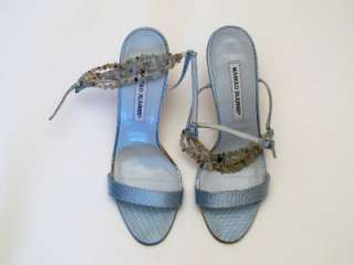 MANOLO BLAHNIK BABY BLUE SILK SHOES WITH BEAD DETAILS SIZE 37 1/2