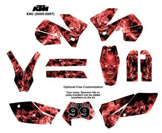 KTM EXC 2005  07 Bike Graphic Decal Sticker Kit 9500Red