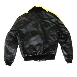 VTG Black Leather Flight Bomber Jacket Quilted Lined Robert Lewis 36