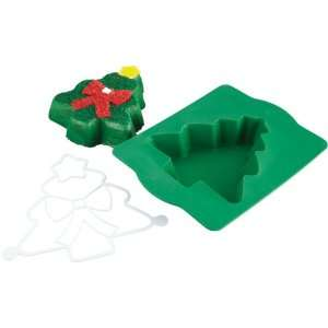 Chicago Metallic Silicone Christmas Tree Cake Pan and Stencil