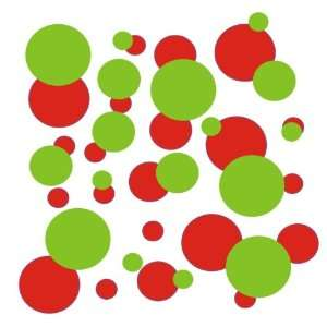106 Red and Lime Green polka dots Vinyl wall lettering stickers quotes