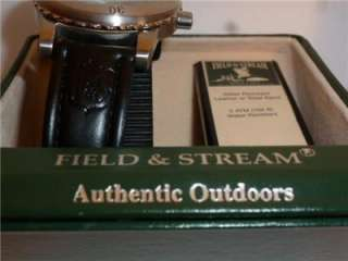 Field & Stream Authentic Outdoors Wrist Watch Black Leather Band MIB