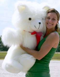 Fuzzy White Teddy Bear 3 Foot Big Plush   Made in the USA America