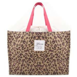 Leopard Print Shopper Tote Bag w/ Mesh Top Closure   BROWN