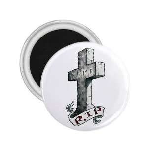 Tattoo Cross RIP Art Fridge Souvenir Magnet 2.25