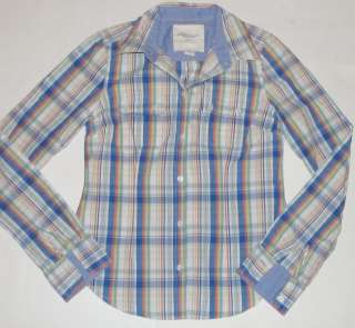 American Eagle Outfitters Blue Green White Plaid Button Long Sleeve