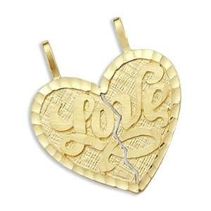 14k Yellow Gold Love Breakable Heart Pendant Charm New