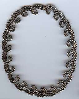 CASTILLO MEXICO VINTAGE BEAUTY STERLING SILVER SWIRLING FERN NECKLACE