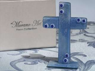 12 Murano Glass Art Deco Blue Standing Cross Favor