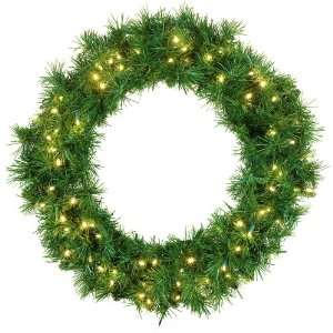 Wreath   30 Pre Lit Dunhill Fir LED Wreath, 100 Warm White LED Lights
