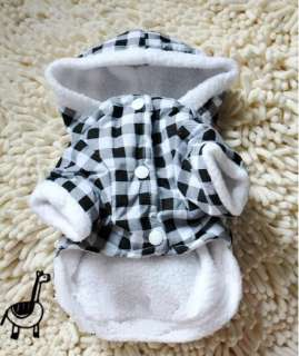 Pet Dog Puppy Apparel Warm Coat Black&White Check Bunny Clothes Winter
