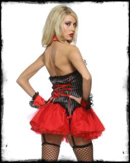 LIP SERVICE BLACK RED MOB STAR GANGSTER WOMENS 3 PIECE FANCY DRESS