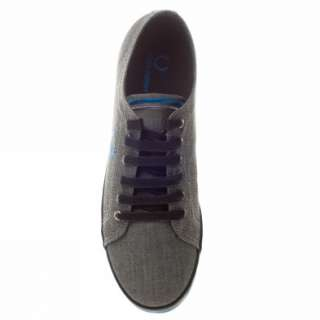 Fred Perry Kingston Chambray Uk Size Grey Trainers Shoes Mens New