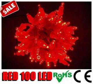 16m 100 LED Solar Powered Red Fairy String Lights