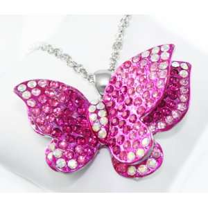 Sophia XX Large 3 D Hot Pink Crystal Butterfly Charm Necklace on Long
