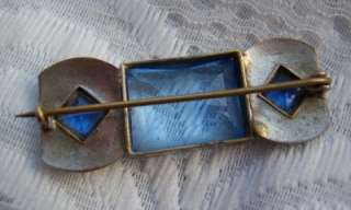 ART DECO BOHEMIAN SIGNED CZECH SLOV ENAMEL & SAPPHIRE GLASS BROOCH