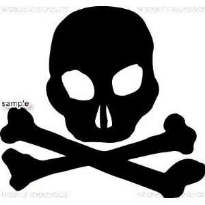 PLAIN CROSSBONES SKULL WHITE VINYL DECAL STICKER