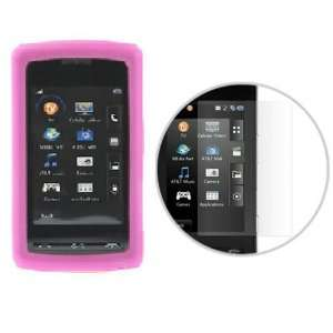 Durable Flexible Soft Hot Pink Silicone Skin Case + Clear