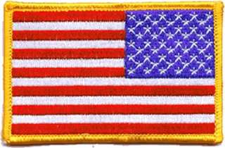 Full Color Reversed American Flag Insignia Patch   US Military
