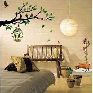 Tree with a Hanging Bird Cage Sticker Decal for Baby Nursery Kids Room