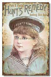Nostalgic Tin Metal Sign   Hunts Remedy Skin Balm Nautical Sailor