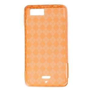 Orange Plaid Checker Soft Crystal Tpu Skin Gel Cover Case