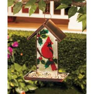 Glass Cardinal Bird Feeder Patio, Lawn & Garden