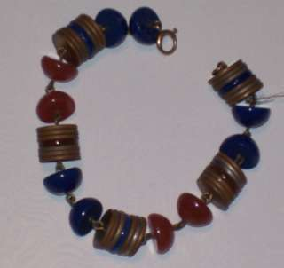 FABULOUS ART DECO UNUSUAL GLASS BEADED BRACELET