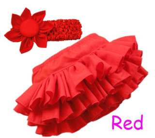 red Baby Girl Nappy Cover Skirt Headband Ruffle Pants Bloomers