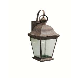 Light Outdoor Wall Mount Lantern, Olde Brick with Seedy Glass Panels