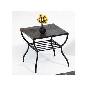 Country Rustic Martinez Stone Top End Table by H M Shop