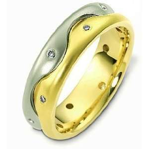 Unique Wave Style 18 Karat Two Tone Gold Diamond Wedding Band Ring   5